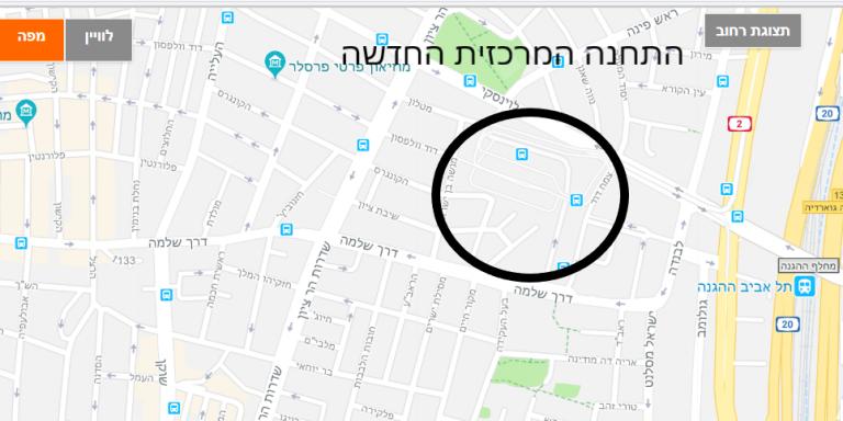 תל אביב מפת תחנה מרכזית חדשה